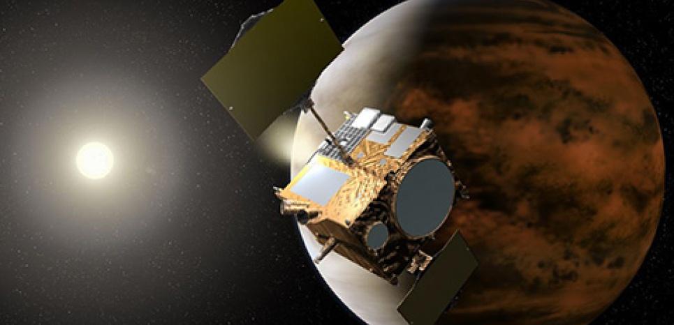 Représentation numérique de la sonde japonaise Akatsuki en orbite autour de Vénus. ©Jaxa/ Akihiro Ikeshita