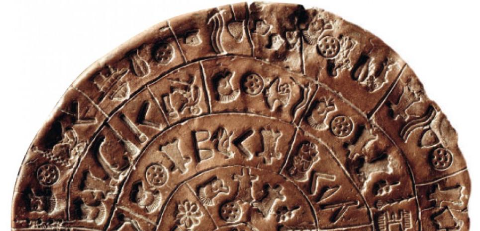 Disque de Phaistos découvert en Crète (1700 av.J.C). Credit: Luisa Ricciarini/Leemage