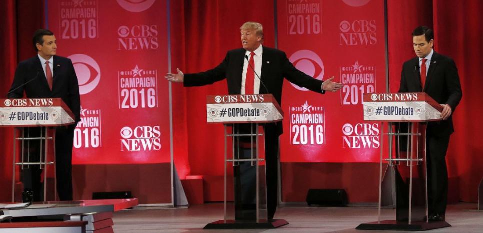 Les candidats républicains à la présidentielle américaine Ted Cruz (à gauche), Donald Trump (au centre) et Marco Rubio (à droite) lors du débat du 13 février à Greenville (Caroline du Sud). (John Bazemore/AP/SIPA)