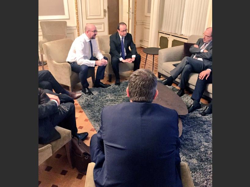 François Hollande avec Charles Michel à Bruxelles le 18 mars 2016