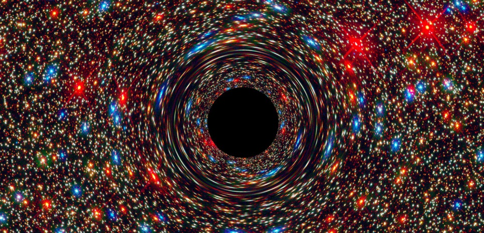 Simulation informatique d'un trou noir supermassif au cœur d'une galaxie. ©NASA, ESA, and D. Coe, J. Anderson, and R. van der Marel (STScI)