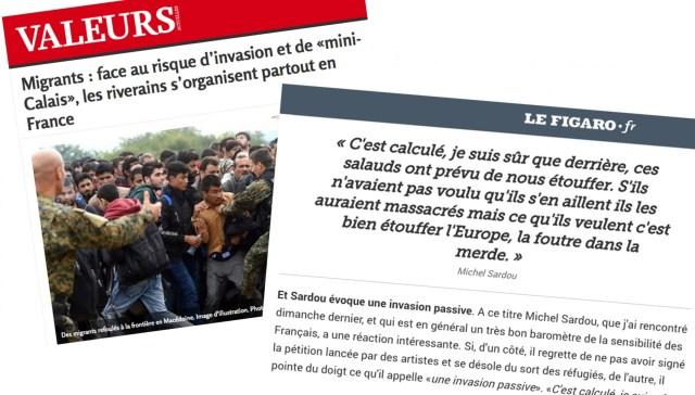 """Des articles de """"Valeurs Actuelles"""" et du """"Figaro"""" reprenant le vocabulaire d'""""invasion"""" pour évoquer les migrants"""