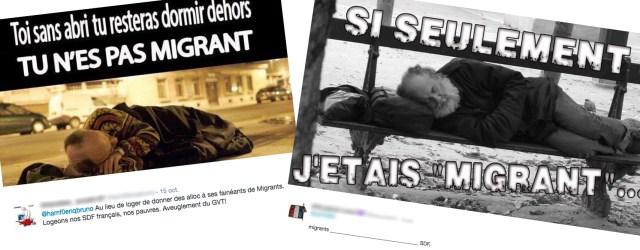 Deux tweets opposant les migrants aux SDF