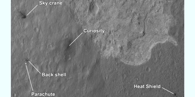 L'équipement nécessaire à la traversée de l'atmosphère martienne jonche le sol de la planète rouge. NASA/JPL-Caltech/Univ. of Arizona