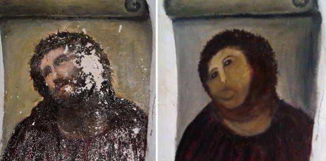 Avant et après. L'oeuvre d'Elias Garcia Martinez a subi un drôle de lifting. (CENTRO DE ESTUDIOS BORJANOS / AFP)