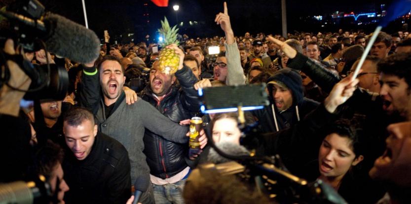 Le spectacle de Dieudonné à Nantes été interdit. Devant le Zénith de Nantes, le 9 janvier 2014 (MEUNIER AURELIEN/SIPA)