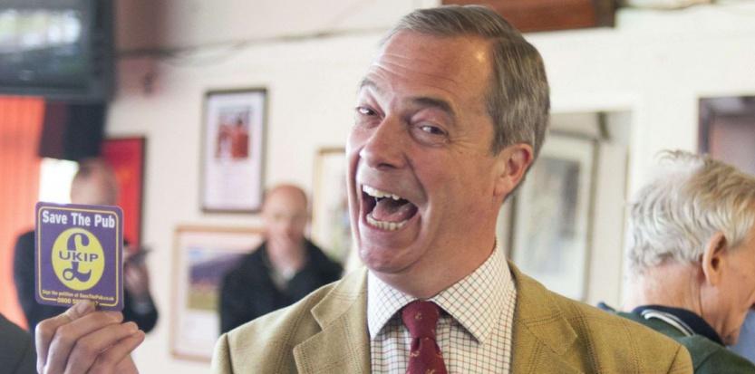 Nigel Farage, leader de l'UKIP, fait la promotion de son parti le 29 avril 2014. (Stephen Simpson/REX/REX/SIPA)