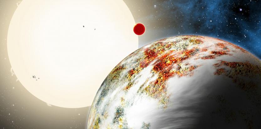 Vue d'artiste de la planète Kepler-10c et de Kepler 10-b. AAS/Harvard-Smithsonian Center for Astrophysics