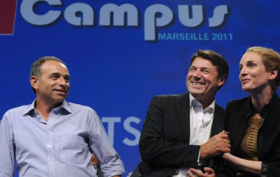Jean-François Copé, Christian Estrosi et Nathalie Kosciusko-Morizet au campus de l'UMP le 2 septembre 2011 - Crédit : AC POUJOULAT / AFP