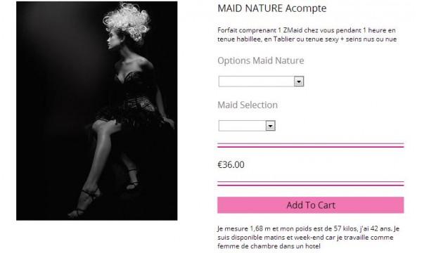 Le forfait Maid Nature comprend une Z Maid à domicile pendant une heure, en tenue habillée, en tablier ou en tenue sexy, soit topless soit entièrement nue (capture d'écran).