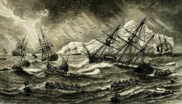 Une gravure représentant la pêche à la morue en 1863, en Terre-Neuve (ABECASIS/SIPA).