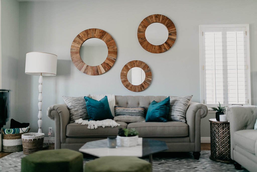 Traditional and Eclectic living room, teal accent