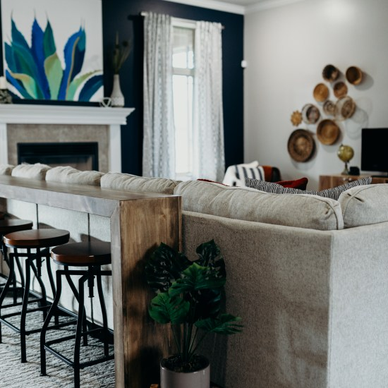 Living room sectional and bar with plant