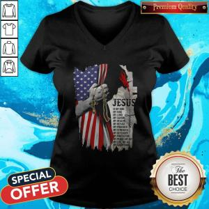 Cool Jesus Is My God My Everything American Flag Independence Day V-neck
