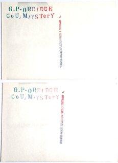 G.P.Orridge Postkarte Rückseite (Sammlung P. Prothmann)