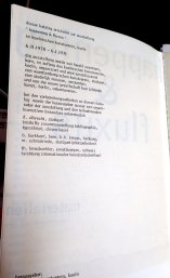 "Katalog zur Ausstellung ""happening und fluxus"", 1970/71, Danksagung an albrecht/d."