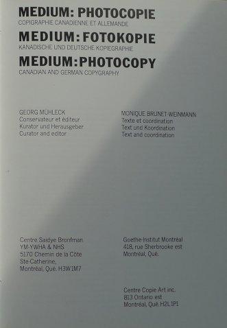 """Medium: Fotokopie"" Georg Mühleck (Hg.) Montréal"
