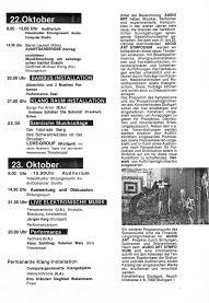 Programm zum AUDIOART Symposium Künstlerhaus Reuchlinstrasse Stuttgart Seite 2, 1985