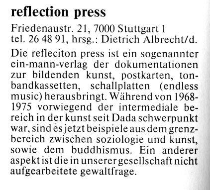 Eintrag im Stuttgarter Stattbuch 1981/82, 2. Auflage 09/81, S. 234. Das Stattbuch war ein alternativer Stadtführer, der von Peter Grohmann ins Leben gerufen wurde.