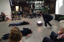 reenactment einer Performance von albrecht/d. 1990 in Wien durch S.A.C. modellers club am 13. Januar 2016 im Württembergischen Kunstverein Stuttgart