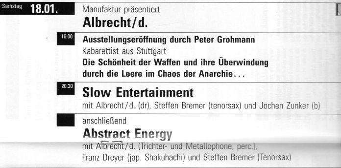 """Ausschnitt aus dem Programm der """"Manufaktur """" Schorndorf, Januar 1992."""