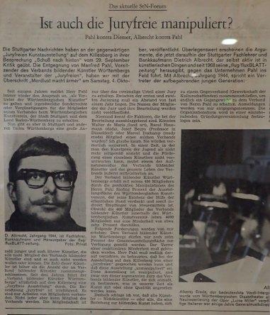 albrecht/d. schreibt in den Stuttgarter Nachrichten am 11. Oktober 1969, Leihgabe von Ema Wirz Fischinger