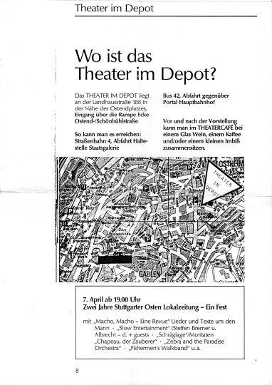 """Ankündigung zum Fest """"Zwei Jahre Stuttgarter Osten Lokalzeitung"""" im Theater im Depot 07.04.1990"""