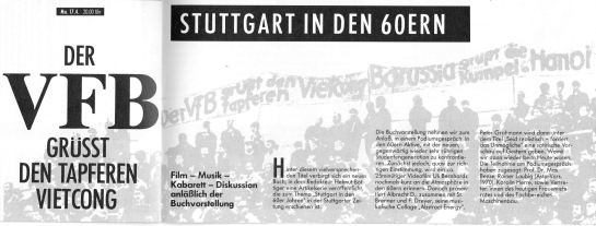 """Ankündigung einer Veranstaltung im Theaterhaus anlässlich des Buchs """"Stuttgart in den 60ern"""""""