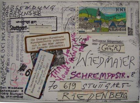 """""""Nashörner bei der Seeschlacht von Trafalgar"""", 1998, zur Antwort durch albrecht/d. umgestaltete Adressseite, Sammlung Gert Wiedmaier"""