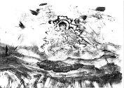 Buddha-Variation Mischtechnik mit Stempeln (Fotokopie)