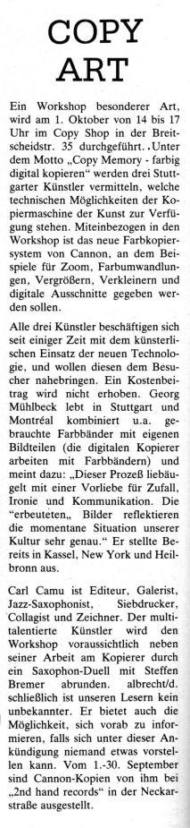 Ankündigung eines Copy-Workshops im Copy Shop Stuttgart in ketchup 09-1988