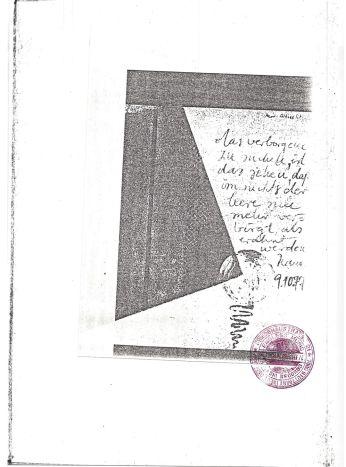 """""""das verborgene zu suchen ist das sehen, dass im nichts der leere sich mehr verbirgt als erahnt werden kann."""" Albrecht/d. 09.10.77, Sammlung Ralf Siemers"""