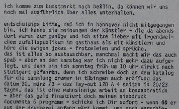 Auszug aus Brief an Christos Joachimides