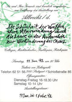 """Einladung zur Ausstellung """"Die Schönheit der Waffen..."""" bei Kolczynski 1992"""