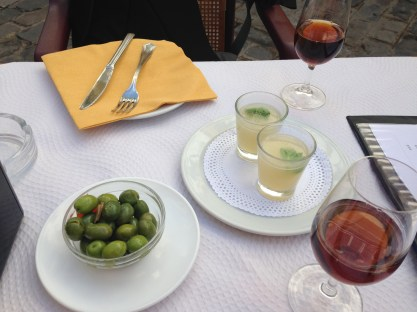 Sherry, soup and olives to begin...