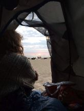 Watching the sunrise from my tent, baltic coast, September 2016