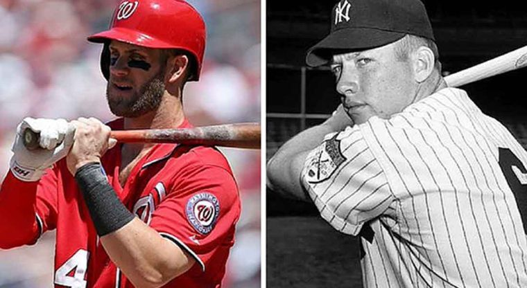 Bryce Harper and his idol Mickey Mantle Photo Credit: Atbat