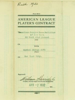 Babe Ruth Contract for $75,000 in 1932 (Photo: New York Daily News)