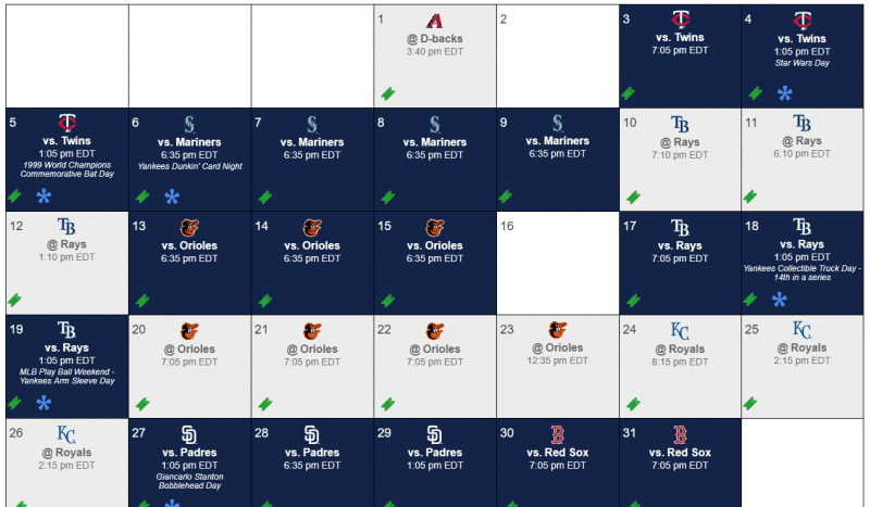 Yankees Schedule May 2019 (Courtesy MLB)