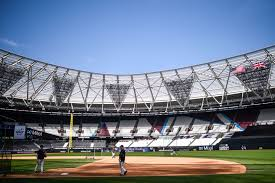 MLB installed chickwire to protect outfield lights in London - those triangles (Photo: New York Post)