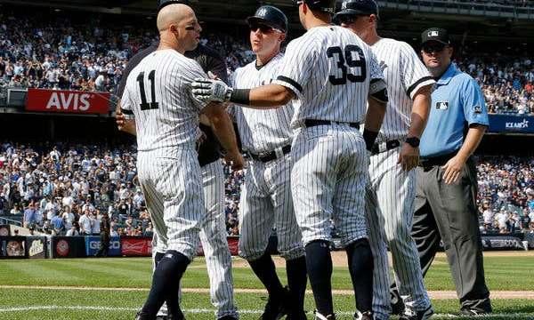 Brett Gardner ejected for dugout antics 8/17/19 (Photo: New York Times)