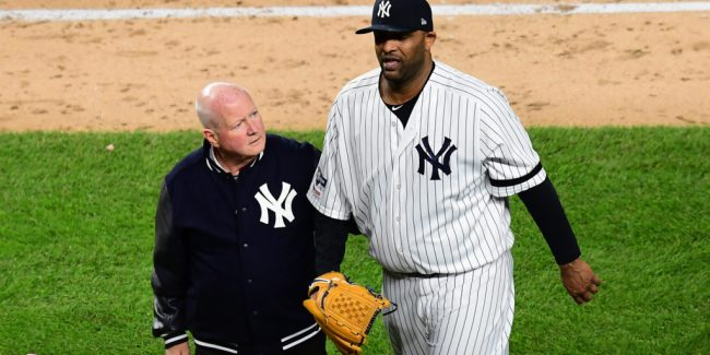 CC Sabathia wlak off a final time (Photo by Emilee Chinn/Getty Images)