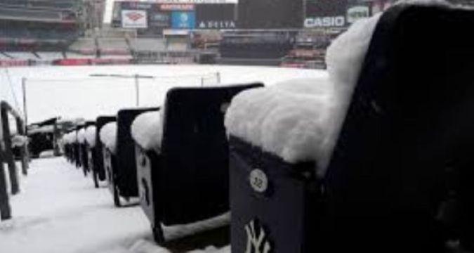 Snow covered Yankee Stadium