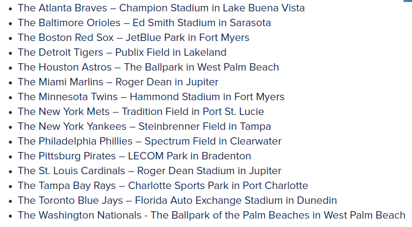Grapefruit League MLB Teams
