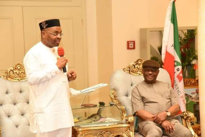 Governor Udom Emmanuel condoles with Governor Wike over the passage of his uncle