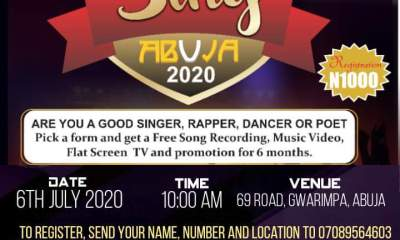 Sing Abuja 2020 audition gets a new date, July 6... Hurry pick your forms now!