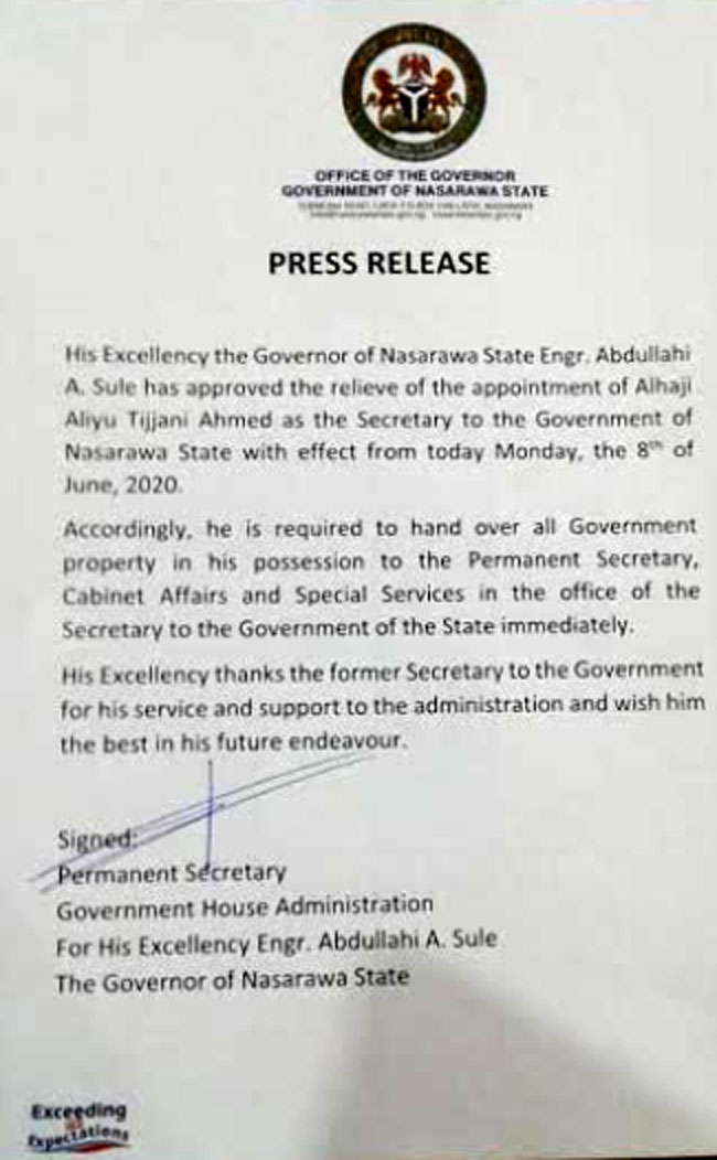 Governor Sule Relieves SSG Of Appointment Over Alleged Fund Misappropriation