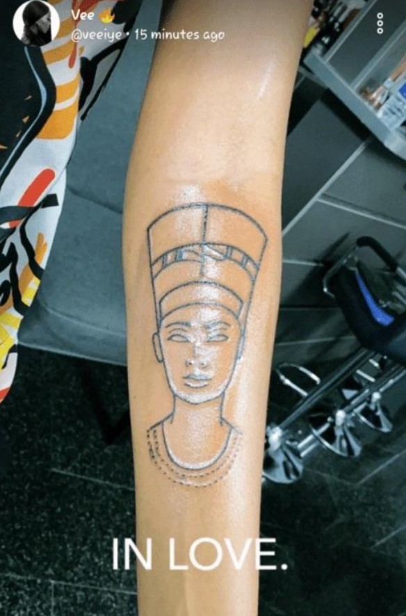 BBNaija Vee Gets Ancient Egyptian Queen As Second Tattoo