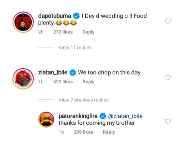 Zlatan Commends Patoranking and Yemi Alade For Plenty Food [Photo]