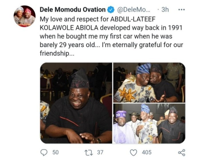 Dele Momodu Says Kola Abiola Bought Me My First Car When He Was 29